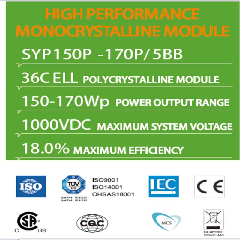 MODÚL AR FHORFHEIDHMÍOCHT MONOCRYSTALLINE SYP150P -170P / 5BB 36C MODÚL POLYCRYSTALLINE ELL