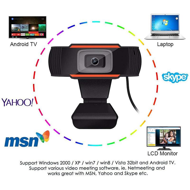 HD 1080P Arvuti veebikaamera PC töölaud Rotatable USB 2.0 Kaamera digitaalse mikrofoniga